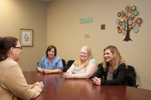 Southern Care Hospice team members Lainee Killings, Lisa Wines and Terri Davis meet with Ivy Tech intern Brandi King