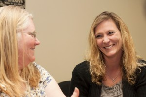 Southern Hospice social worker Terri Davis shares a laugh with Ivy Tech intern Brandi King