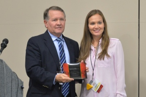 Chancellor Steve Daily accepts Pacesetter Award from NCMPR District 3 Director Kayte Hamel