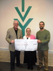 Steve Johnson, executive director of Wabash County United Fund; Patsy Favorite, staff member at Ivy Tech Wabash; and Jon Troyer, Ivy Tech faculty member and United Fund committee chair, celebrate successful campaign