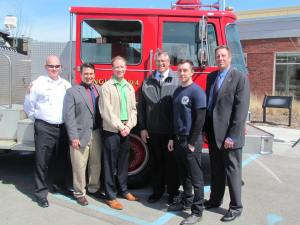 Frankfort Fire Chief John Kirby, Ivy Tech Chancellor David Bathe, Frankfort Mayor Chris McBarnes, Ivy Tech Program Chair Jeff Hayes, Ivy Tech student Shawn Shepard and Tim Swartz of Hoosier Fire Equipment