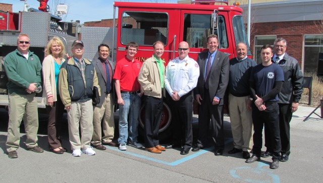 Representatives of the City of Frankfort, Ivy Tech Community College and Hoosier Fire Equipment gathered for the donation ceremony Monday at Ivy Tech's Frankfort Campus