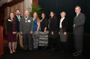 Kokomo Region Director of Student Life Dani McQuaide; students Matt Nelson, Jim Montgomery, Jennifer Hattabaugh, and Jossie Helmerick; Regional Assistant Vice Chancellor for Student Affairs Theresa Murphy; Ivy Tech President Sue Ellspermann; and Ivy Tech Senior Vice President/Chief Operating Officer Andy Bowne.